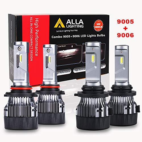 ALLA Lighting S-HCR 9005 9006 Combo de bombillas LED de 10000 lm Xtremely Super Bright HB3 HB4 de repuesto, 6000K ~ 6500K xenón blanco (4 paquetes, 2 juegos)
