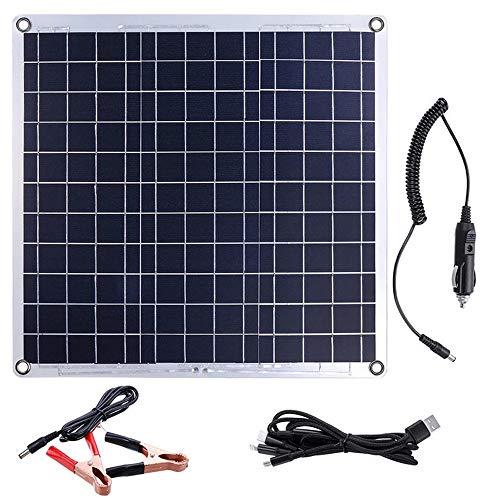 Yuqianqian Home Gardens Camping Panel Solar, 5V Puertos duales USB Cargador de batería de la Placa de Aluminio Panel Solar Desarrollado Panel de 60W DC 12V 60W (Color : Black, Size : 60W)