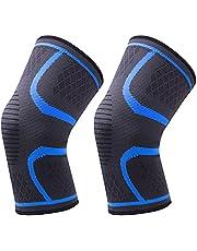Kniebrace Mouw 1 Paar Knie Compressie Mouw Blauw Koper Compressie Knie Mouw Mannen Vrouwen Knie Ondersteunt voor Hardlopen Sport Gym Soorten Sport & Verwonding Preventie en Herstel