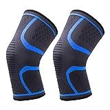 GLAITC Rodilleras para Rodilleras 1 par de Rodilleras de compresión de Cobre Azul Rodilleras de compresión para Hombres y Mujeres Rodilleras para Correr Deportes Gimnasio Tipos de Deportes (L)