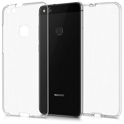 REY Funda Carcasa Gel Transparente Doble 360º para Huawei P10 Lite 2017, Ultra Fina 0,33mm, Silicona TPU de Alta Resistencia y Flexibilidad