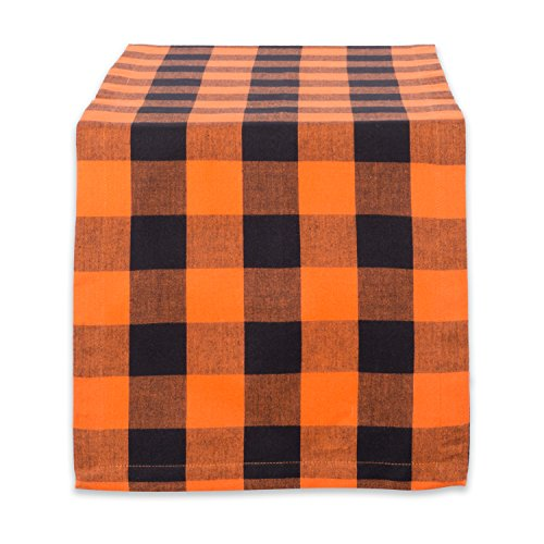 DII Buffalo Check Collection Classic Tabletop, Table Runner, 14x72, Orange & Black