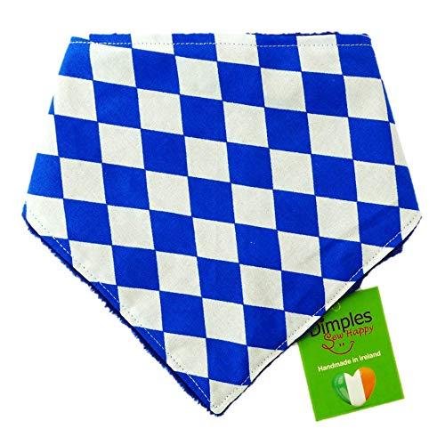 Dimples hondenhalsdoek - Bayern ruit wit blauw klederdracht Oktoberfest - halsdoek voor kleine middelgrote en grote honden puppy's en katten - hondenbezitter cadeau voor verjaardag - handgemaakte hondenaccessoire, 60cm