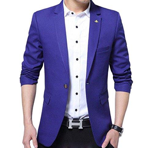 Aooword-men clothes Herren lässige 1 button langarm flexible fit blazer US Medium=China Large Blau