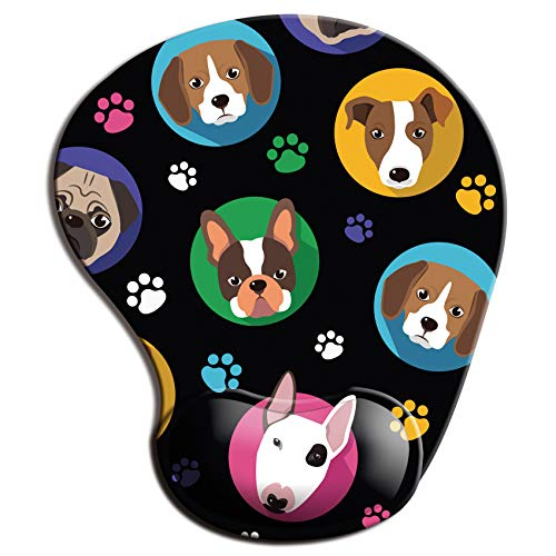 Ergonomic Mouse Pad with Wrist Support, Non Slip Mousepad with Lycra Cloth, Non-Slip PU Base Easy Typing Mouse Mat for Office, Computer, Laptop & Mac (Moon Lovely Dogs)