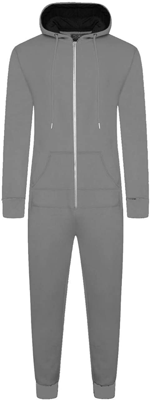Mens Hooded Onesie All in One Zip Through Loungewear Bodysuit Zipped Hooded Casual Soft Plain One Piece Fleece Suit Jumpsuit Pajamas Pjamas Menslounge Light Grey, S
