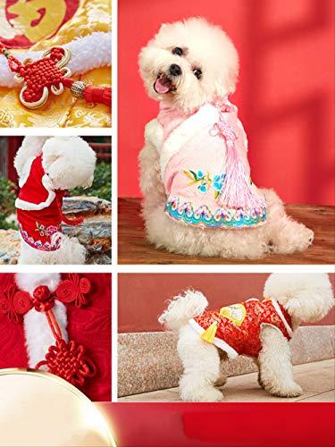 ZHAOYAN Huisdier Hond Kat Kleding Winter Jurk Kleine Hond Teddy Beer Net Rood Nieuwjaar Tang Jurk Gelukkig Vierbenige Katoen Jurk