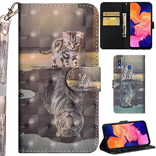 DodoBuy Samsung Galaxy A40 Hülle 3D Flip PU Leder Schutzhülle Handy Tasche Wallet Case Cover Ständer mit Trageschlaufe Magnetverschluss für Samsung Galaxy A40 - Katze Tiger