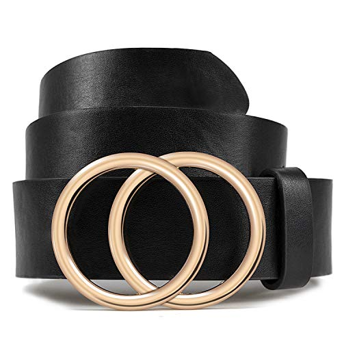 Black Belt for Women Fashion Soft Leather Belt with Double Ring Buckle by LOKLIK