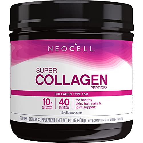 NeoCell Super Collagen Peptides Powder, 14 Ounces, Non-GMO, Grass Fed, Paleo Friendly, Gluten Free, For Hair, Skin, Nails & Joints (Packaging May Vary), Unflavored, 40 Servings