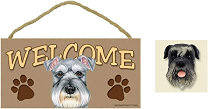 "5"" x 10"" Schnauzer Welcome Wooden Plaque Sign + Adorable Schnauzer Dog Fridge Magnet"