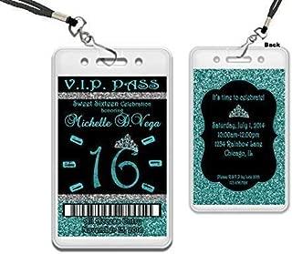 Turquoise Blue Sweet 16 VIP Pass Invitation Glitter Silver