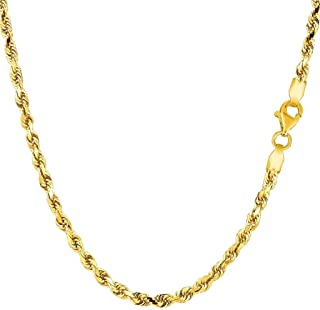 """14k SOLID Yellow or White Gold 3.00mm Shiny Diamond-Cut Royal Solid Rope Chain Necklace for Pendants and Charms with Lobster-Claw Clasp (7"""", 8"""", 16"""", 18"""", 20"""" 22"""", 24"""" or 30 inch)"""