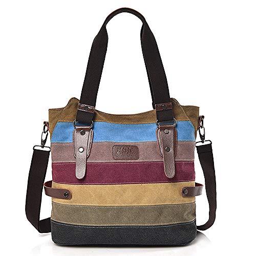 Marsoul Damen Handtasche Multi-Color-Striped Umhängetasche Canvas Shopper Tasche Vintage Bags (Blue)