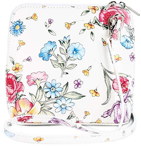 Belli ital. Ledertasche Damen Umhängetasche Handtasche Schultertasche - 17x16,5x8,5 cm (B x H x T) (Weiß Blume)