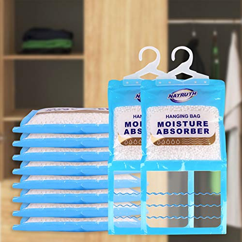 NATRUTH Moisture Absorber Packets, Moistureproof Desiccant Hanging Bag Use for Kitchen Bathroom Wardrobe, Humidity Packs, Hanging Closet Dehumidifier Bags, Moisture Absorb 9.15OZ* (10pcs/Pack)