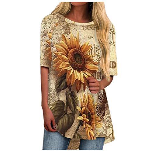 STKOOBQ Camiseta regata feminina, girassol, linda estampa de verão, gola redonda, manga curta, túnica casual, Caqui, M
