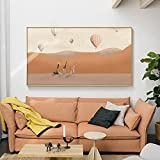 Paisaje moderno globo aerostático lienzo pintura carteles e impresión arte pared montañas imágenes para sala de estar dormitorio decoración del hogar 50x100 CM (sin marco)