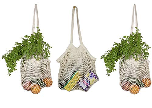 Organic Cotton Mesh Tote Bags – Reusable Washable French Market Bags - Net String Crochet Bags with Long Handles for Grocery, Vegetables, Fruits | Stretchable, Easy to Fold & Compact to Carry (3 Bags)