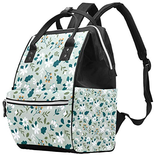 Diaper Bag Backpack with Portable Changing Pad, Pacifier Case and Stroller Straps, Large Unisex Bags,Multipurpose Travel Back Pack for Moms DadsColourful Ditsy Floral_Layout