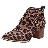 Rawdah Botas Mujer Invierno Mujer Zapatos de Mujer Moda Botín de Leopardo sólido...