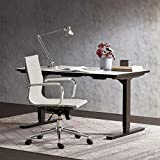 BELLEZE Mid-Back Ribbed Upholstered Faux Leather Swivel w/Arm Conference Chair, White