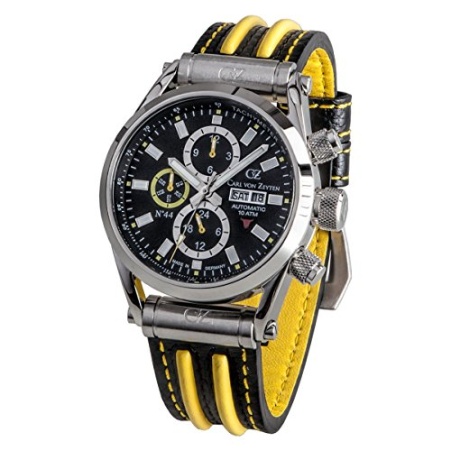 Carl von Zeyten Herren Analog Automatik Uhr mit Leder Armband CVZ0044BKYL