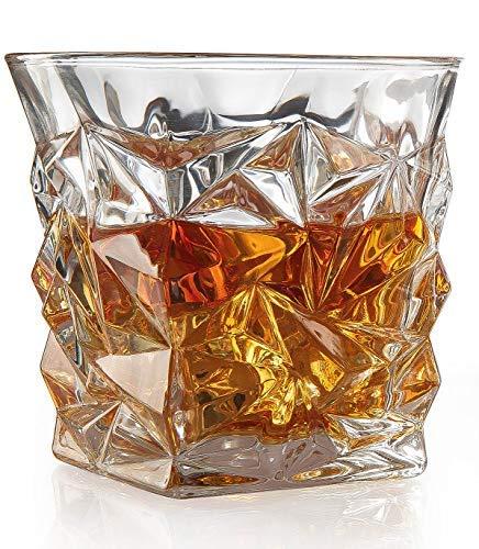 Set of 2 Diamond Glasses - Luxury Elegant Whiskey Glasses The Wine Savant New Style Old Fashioned Drink Glasses - Glassware set - Scotch Brandy or Bourbon Tumblers, 12 oz.
