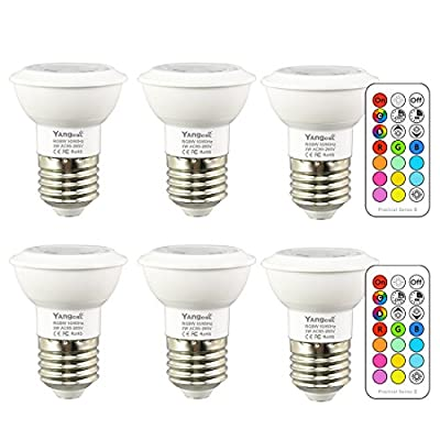 Yangcsl Dimmable 3W RGB LED Light Bulbs Uniform Color Changing Spotlight Mood Ambiance Lighting with Remote Control,45 Degree and Memory (Pack of 6)