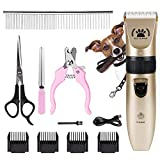 infinitoo Dog Grooming Clippers for Pets,Low Noise Pet Clippers,Rechargeable Cordless Dog Trimmer Kit with 4 Combs& Scissors Nail Kits, Professional Pet Grooming Hair Shaving Tool