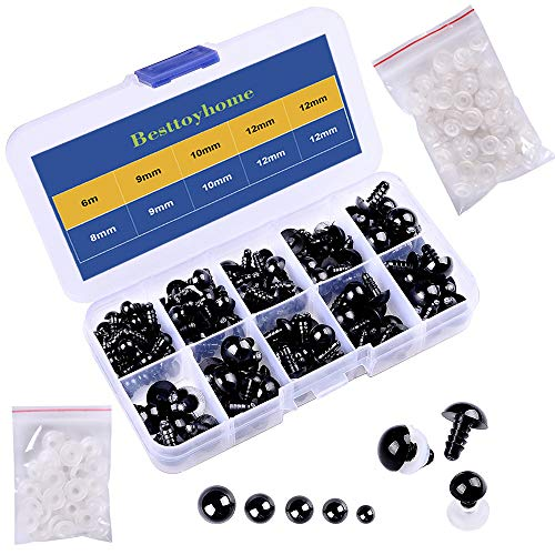 150 Pcs 6-12mm Plastic Safety Eyes with Washers for Doll Making Black