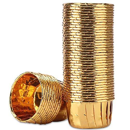 Fltaheroo 50 Piezas de Papel de Aluminio Cupcake Cups Forros para Muffins Desechables Tazas para Hornear Aluminio Cupcake Tip Pan Ramekin Holders Little Pudding Cups-Gold