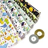 Papel Para Envolver Regalos, Comius Sharp 6 Hojas Envoltura Colorido (Doblados) + 2 Rollo de Cinta de Organza Dorado Para Cumpleaños, Día De Fiesta, Boda, Baby Shower (2)