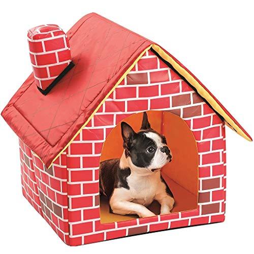 Qbylyf Valla Chimenea de ladrillo Rojo Forma de la casa Habitación Individual...