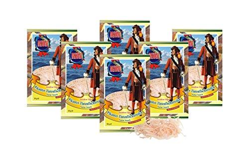Pikante Tintenfischstreifen - mit Chilli (6 x 36g Pack) Natur Snack getrocknet u. gesalzen I Low Carb I High Protein I Low Fat I Fitness Snack I Trockenfisch reich an Omega 3 I für Männer und Frauen