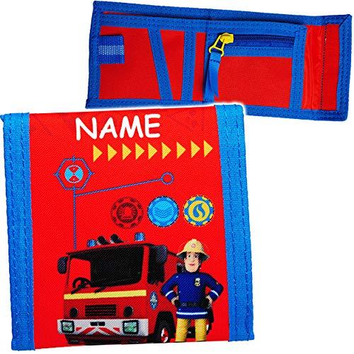 alles-meine.de GmbH Geldbörse - Feuerwehrmann Sam & Feuerwehr - inkl. Name - Portemonnaie / Geldbeutel - für Kinder - Geld - Portemonnaise Klettverschluss - Geldtasche Geld - Sch..