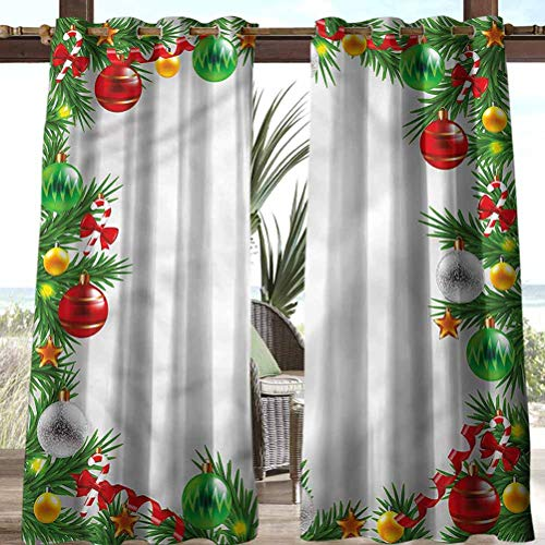 Anmaseven Christmas Polyester Patio Curtains for Beach Garden Gazebo Snowy Winter Garland 108' W by 96' L(K274cm x G243cm)