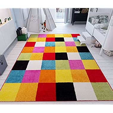 Well Woven Modern Rug Squares Multi Geometric Accent 3'3  x 5' Area Rug Entry Way Bright Kids Room Kitchn Bedroom Carpet Bathroom Soft Durable Area Rug