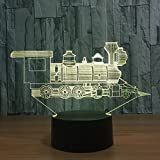 Locomotive Ancient Train 3D Visual Illusion Lamp  LED 3D Night Light 7 Color Changing Touch Table Bulbing Lamp