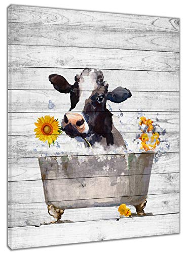 HVEST Farm Cow Wall Art Watercolor Cow in Vintage Bathtub Farmhouse Floral Sunflower Canvas Abstract Painting Modern Artwork Framed Ready to Hanging for Bedroom Living Room Bathroom Decor,12x16Inchs