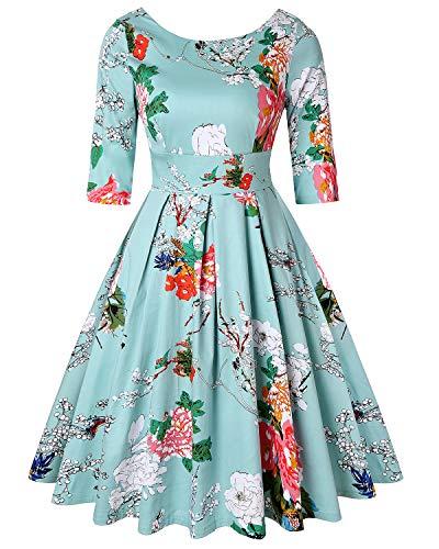 MINTLIMIT Frauenkleid Halbe Ärmel Retro Vintage Kleid Audrey Hepburn Stil (Floral Light Grün,Größe M)
