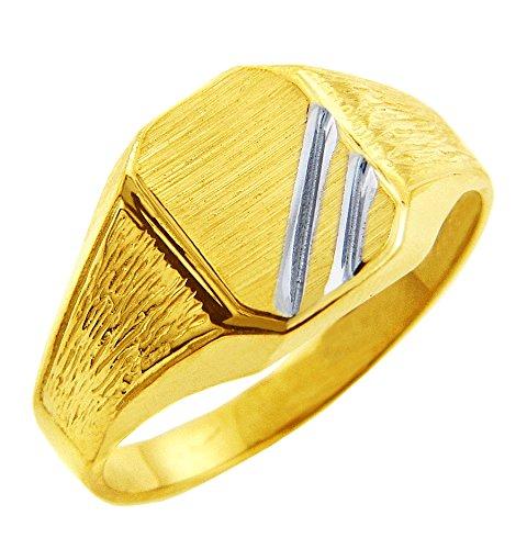 Pequeños Tesoros - Anillos Hombres 10 KT Oro 2 Colores 471/1000 Zeus Sortija De Sello