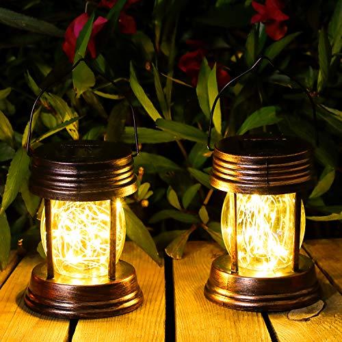 Solar Laterne,OxyLED 2 Stück Hängend Solar Gartenleuchte mit 20 LED-Lichterketten,IP44 Wasserdichte Retro Solar-Gartenleuchten für die Pathway Yard Table Wall Patio (Warmweiß)