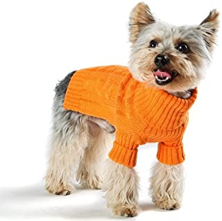 Stinky G Designer Pet Clothes, Tangerine Turtleneck Dog Sweater, Classic Aran Knit