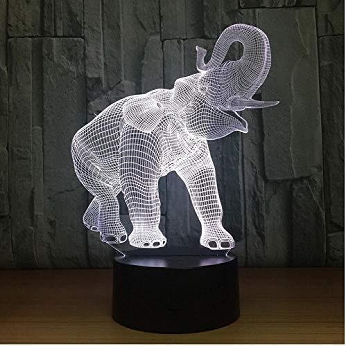 Lámpara 3D Luz de noche LED Zoo Dance Elefante Figura de acción 7 colores Decoración Luz Ilusión óptica