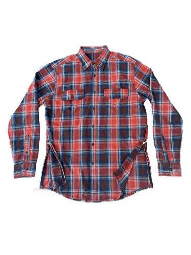 Orange/Blue Fear of God Inspired Flannel w/ Side Zippers