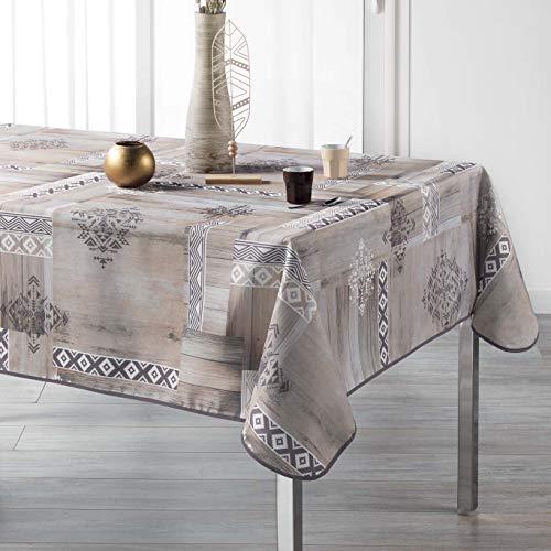 Arte Provenzale TOVAGLIA ANTIMACCHIA Dis. Etnic Wood Rettangolare, per Sala da Pranzo e Cucina (_240_x_150_cm)