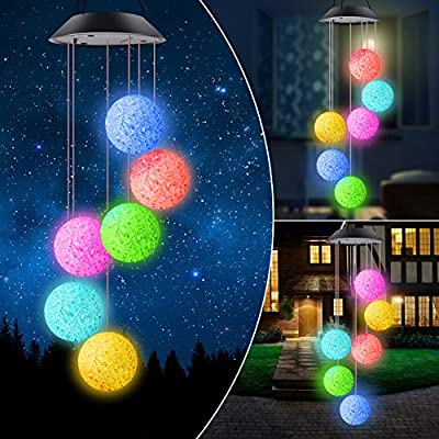 ERYTLLY Wind Chimes Solar Wind Chimes LED Wind Chimes Solar String Lights Color Changing LED Mobile Hummingbird Wind Chimes Waterproof Outdoor Solar Lights for Home Yard Patio Garden (Balls Chimes)
