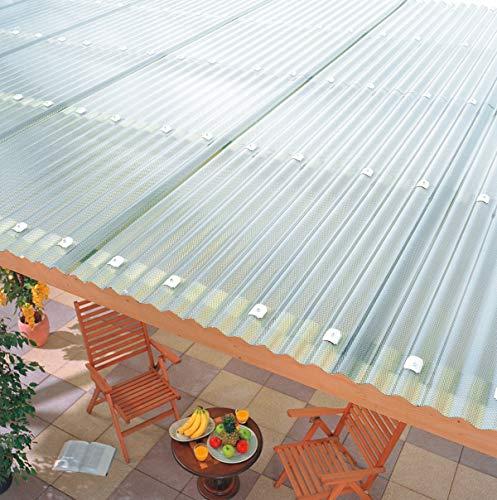 Terrassendach Terrassenüberdachung Carport Komplettset Acrylglas Sinus 76/18 3mm Wabenstruktur Farblos Profilplatten Tiefe:5000mm|Breite:4965mm