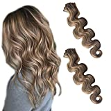 Clip in Hair Extensions Human Hair Body Wave Real Remy Hair Extensions Clip on for Women Double Weft Balayage Medium Brown with 613 Blonde Highlights Silkt Straight Full Head 70G 7pcs 16 Clips 18 Inch